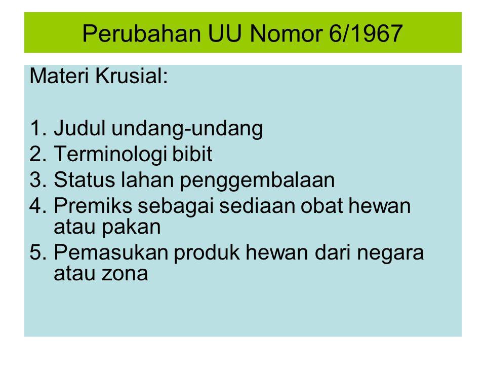 Perubahan UU Nomor 6/1967 Materi Krusial: Judul undang-undang