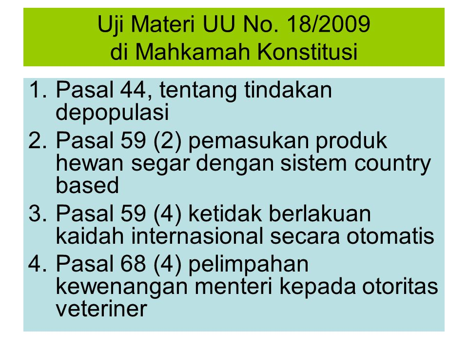 Uji Materi UU No. 18/2009 di Mahkamah Konstitusi
