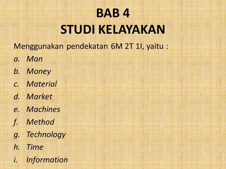 BAB 4 STUDI KELAYAKAN Menggunakan pendekatan 6M 2T 1I, yaitu : Man