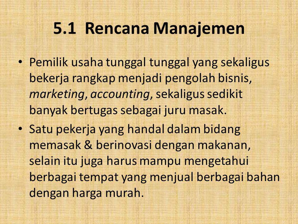 5.1 Rencana Manajemen