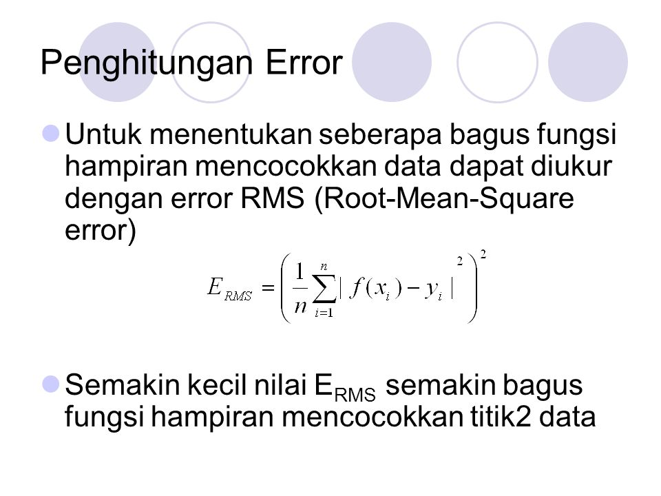 Penghitungan Error Untuk menentukan seberapa bagus fungsi hampiran mencocokkan data dapat diukur dengan error RMS (Root-Mean-Square error)