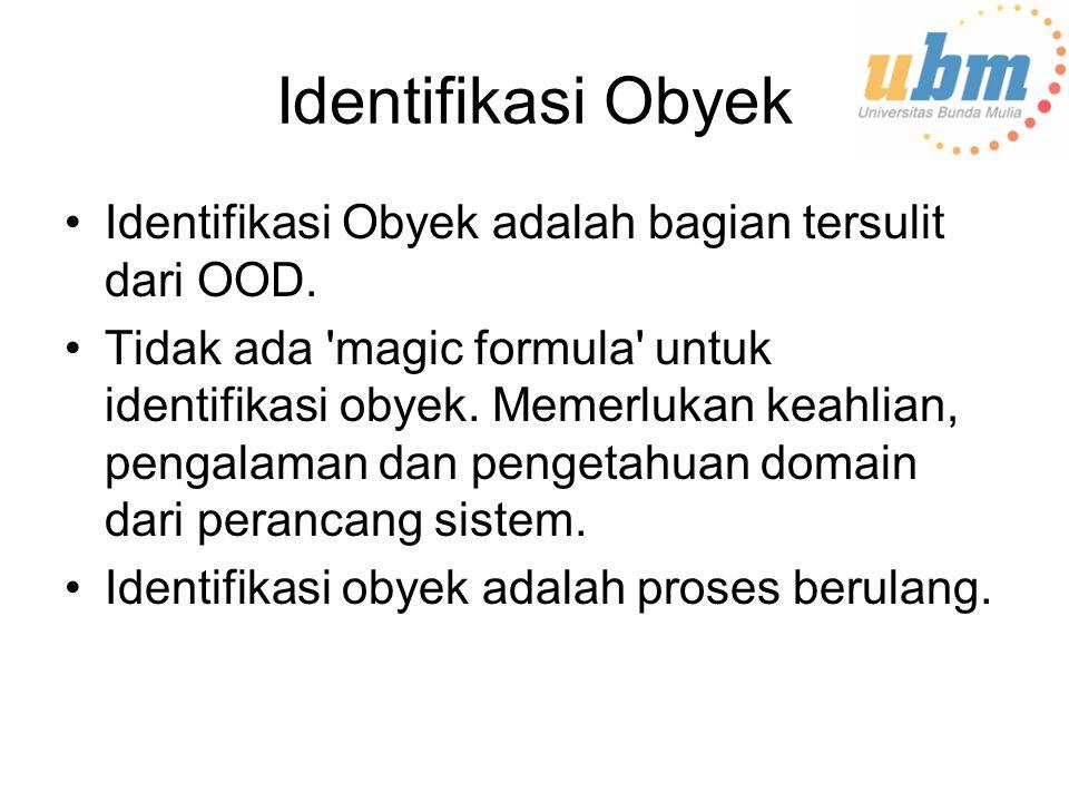 Identifikasi Obyek Identifikasi Obyek adalah bagian tersulit dari OOD.