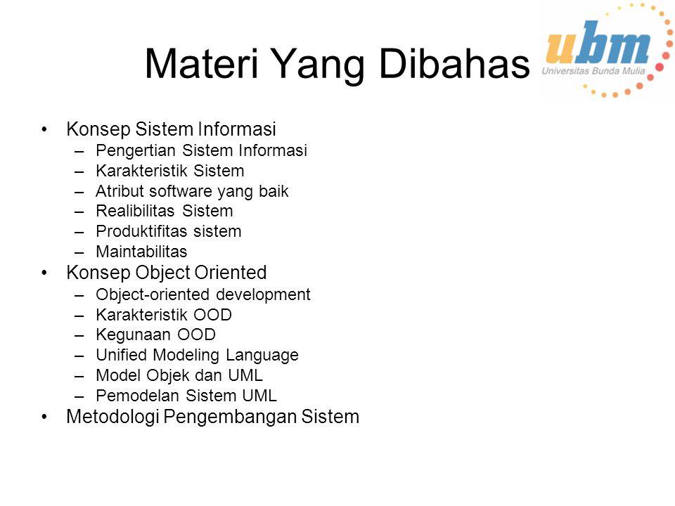 Materi Yang Dibahas Konsep Sistem Informasi Konsep Object Oriented