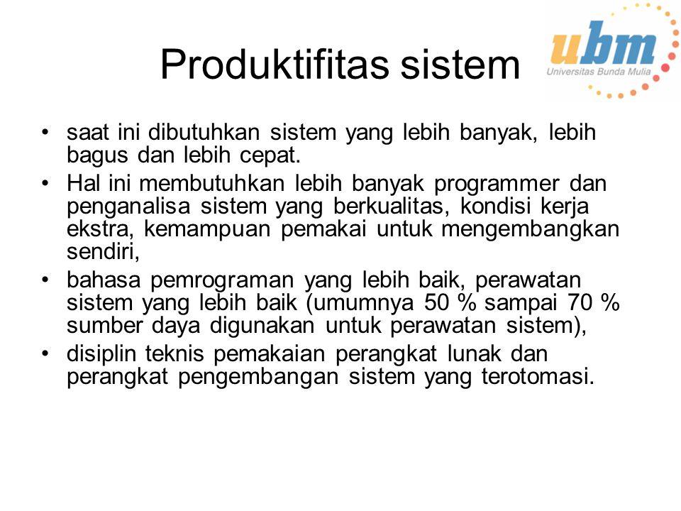 Produktifitas sistem saat ini dibutuhkan sistem yang lebih banyak, lebih bagus dan lebih cepat.