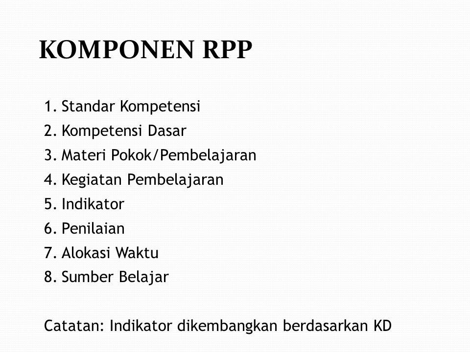 KOMPONEN RPP Standar Kompetensi Kompetensi Dasar
