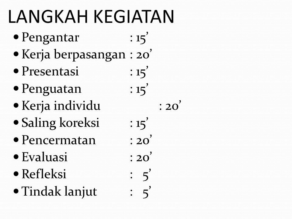 LANGKAH KEGIATAN Pengantar : 15' Kerja berpasangan : 20'