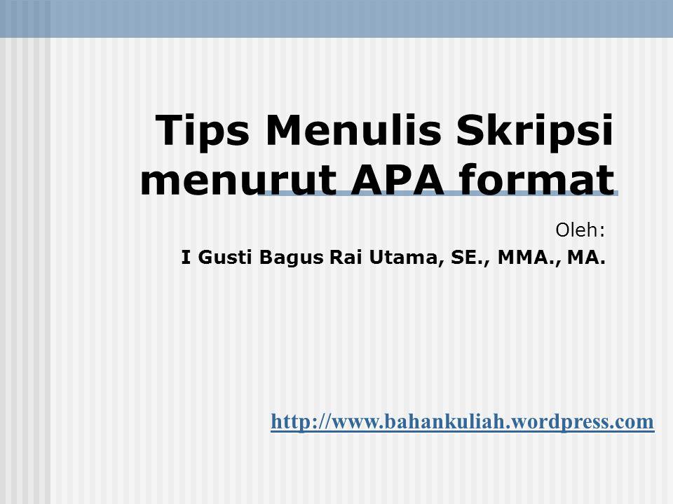 Tips Menulis Skripsi menurut APA format