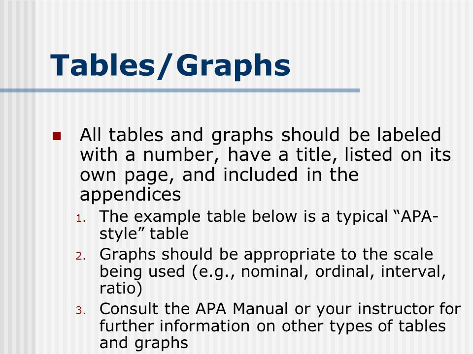 Tables/Graphs All tables and graphs should be labeled with a number, have a title, listed on its own page, and included in the appendices.