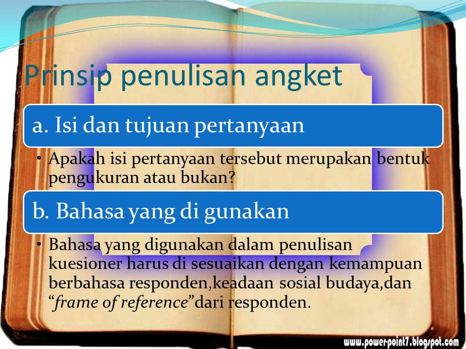 Prinsip penulisan angket