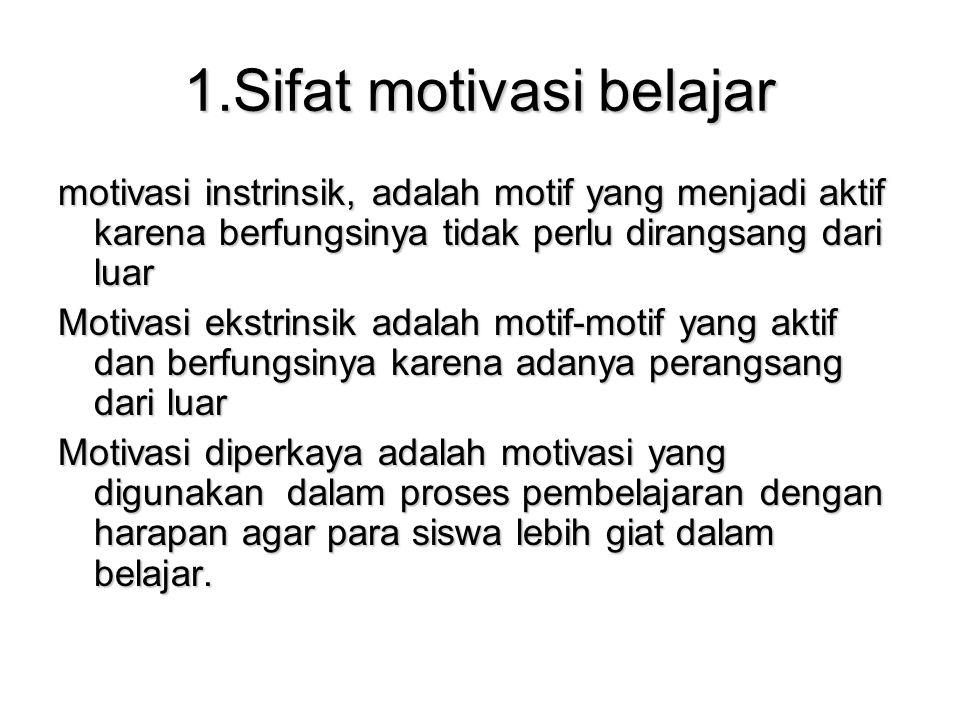1.Sifat motivasi belajar