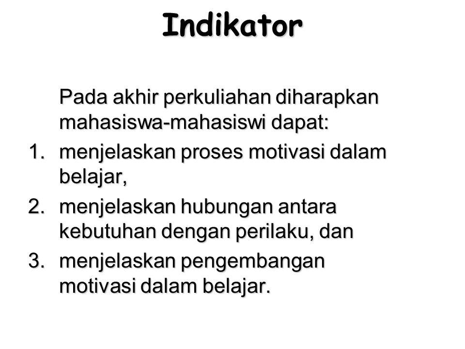 Indikator Pada akhir perkuliahan diharapkan mahasiswa-mahasiswi dapat: