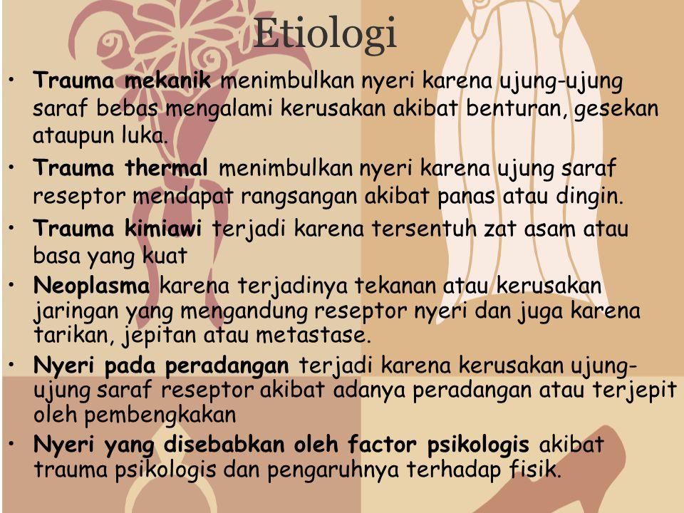Etiologi Trauma mekanik menimbulkan nyeri karena ujung-ujung saraf bebas mengalami kerusakan akibat benturan, gesekan ataupun luka.
