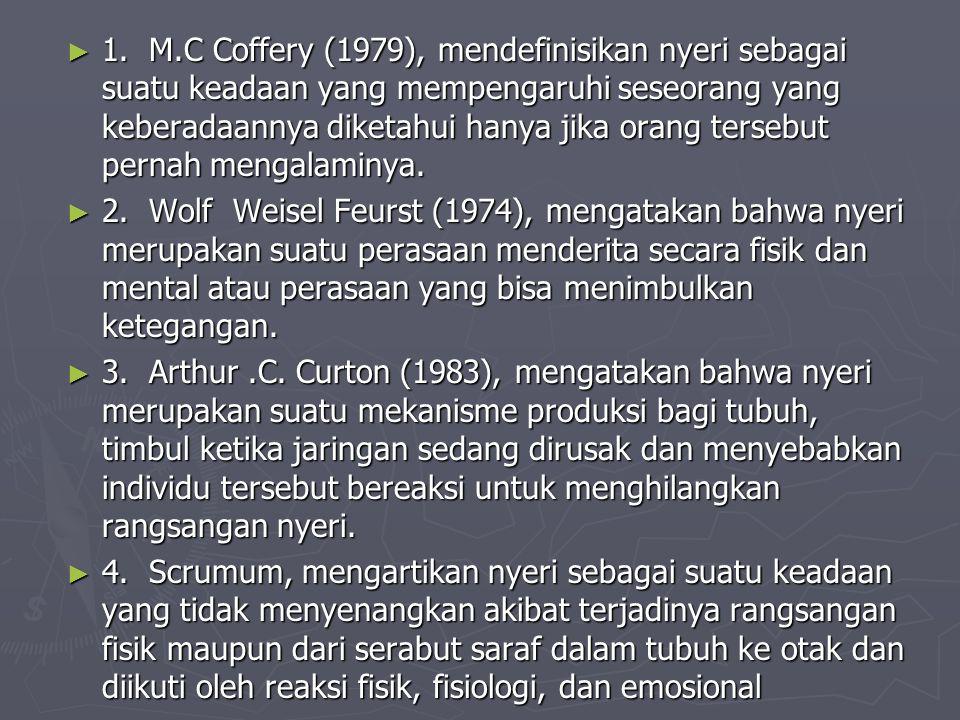 1. M.C Coffery (1979), mendefinisikan nyeri sebagai suatu keadaan yang mempengaruhi seseorang yang keberadaannya diketahui hanya jika orang tersebut pernah mengalaminya.