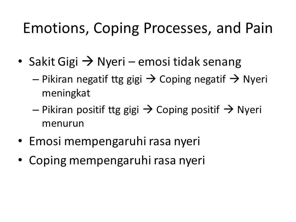 Emotions, Coping Processes, and Pain