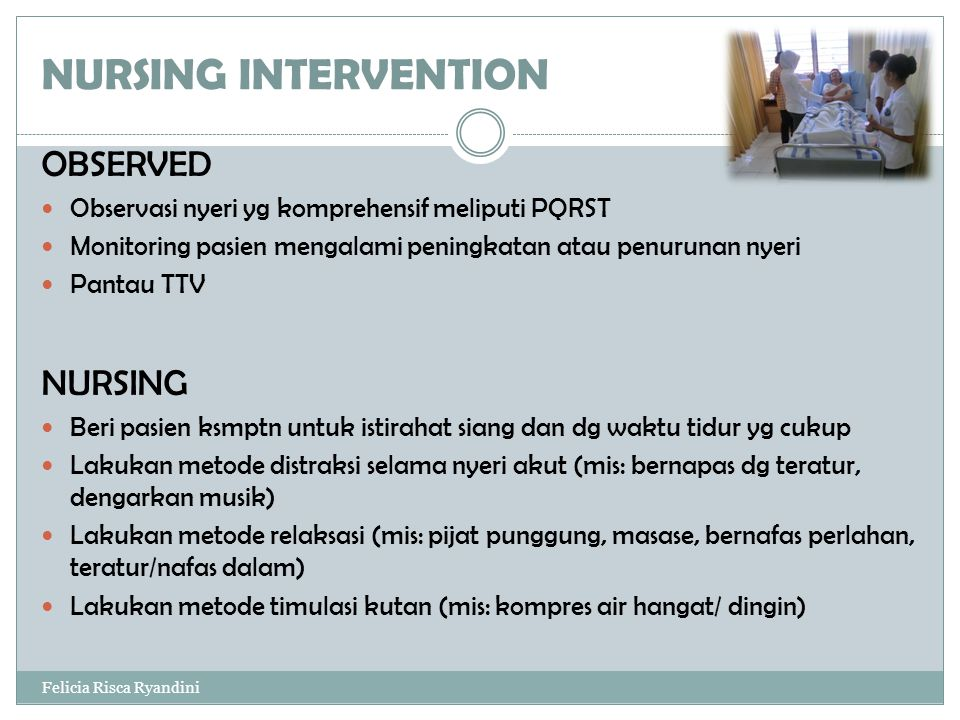 NURSING INTERVENTION OBSERVED NURSING