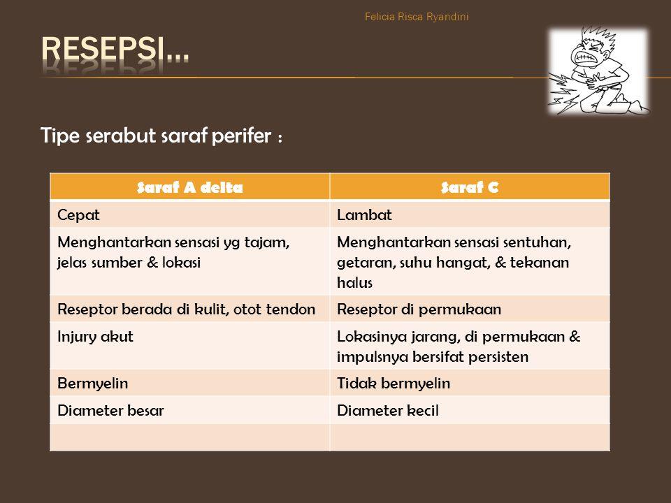 RESEPSI… Tipe serabut saraf perifer : Saraf A delta Saraf C Cepat