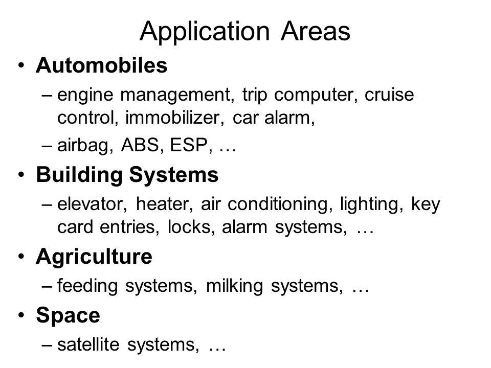 Application Areas Automobiles Building Systems Agriculture Space