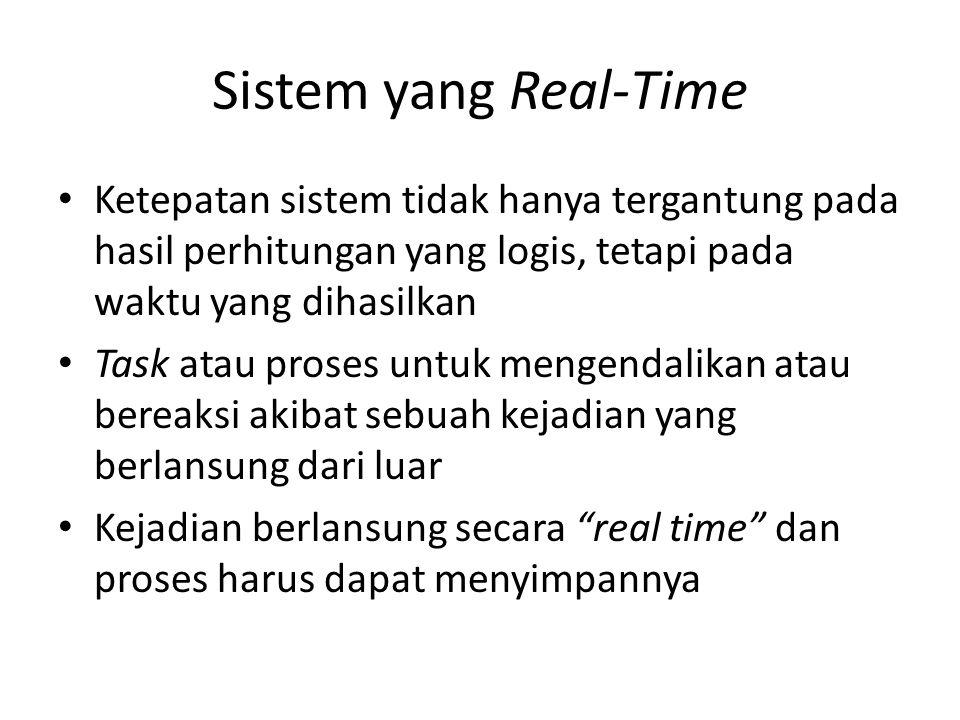 Sistem yang Real-Time Ketepatan sistem tidak hanya tergantung pada hasil perhitungan yang logis, tetapi pada waktu yang dihasilkan.