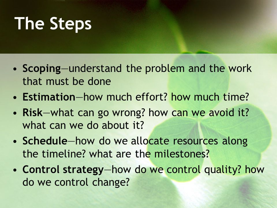 The Steps Scoping—understand the problem and the work that must be done. Estimation—how much effort how much time