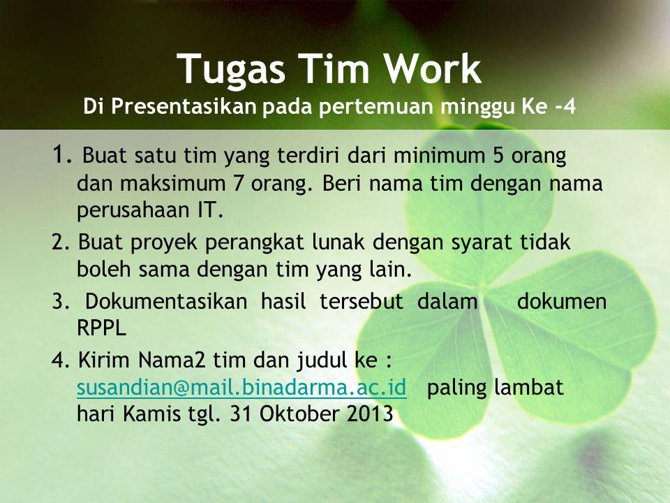 Tugas Tim Work Di Presentasikan pada pertemuan minggu Ke -4