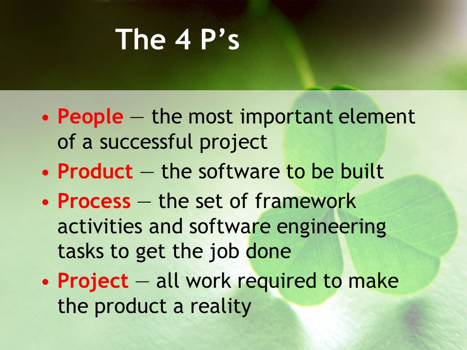The 4 P's People — the most important element of a successful project