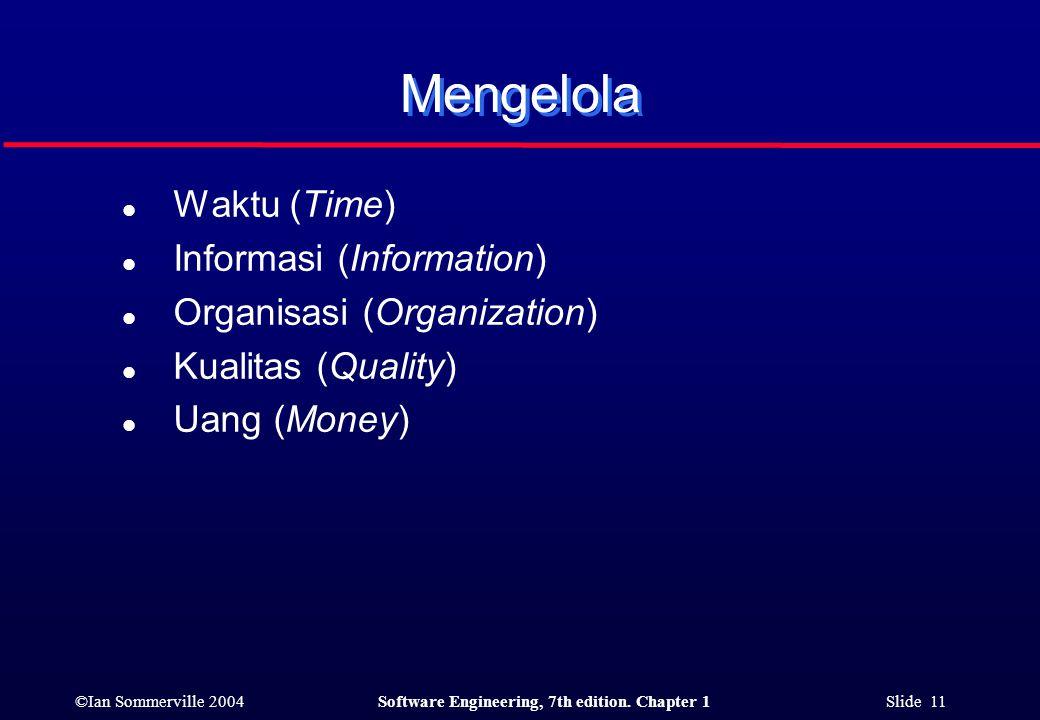 Mengelola Waktu (Time) Informasi (Information)