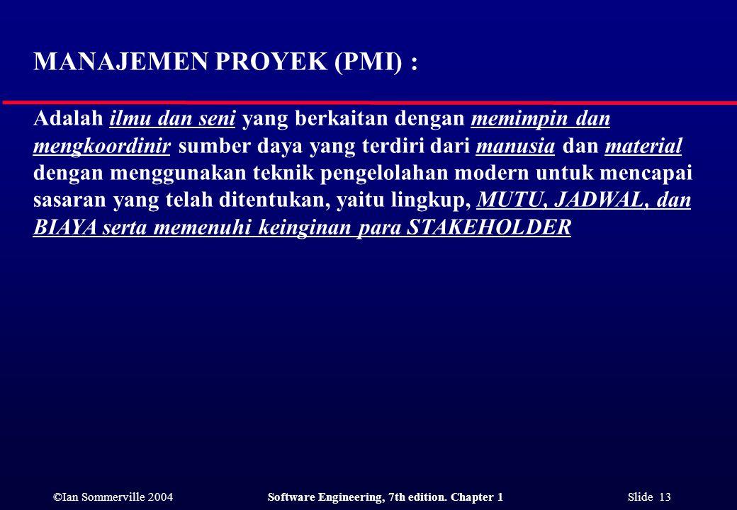 MANAJEMEN PROYEK (PMI) :