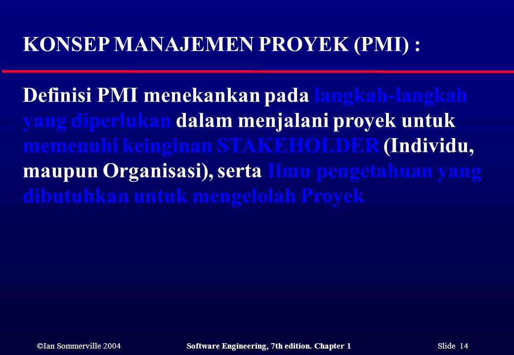 KONSEP MANAJEMEN PROYEK (PMI) :