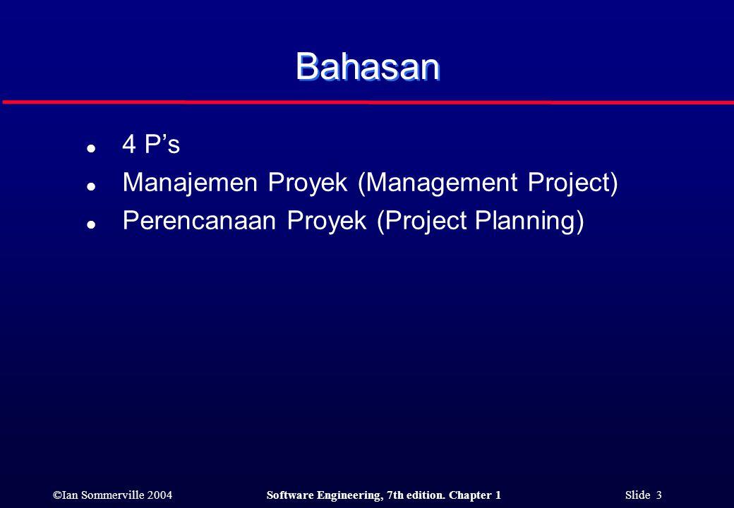 Bahasan 4 P's Manajemen Proyek (Management Project)