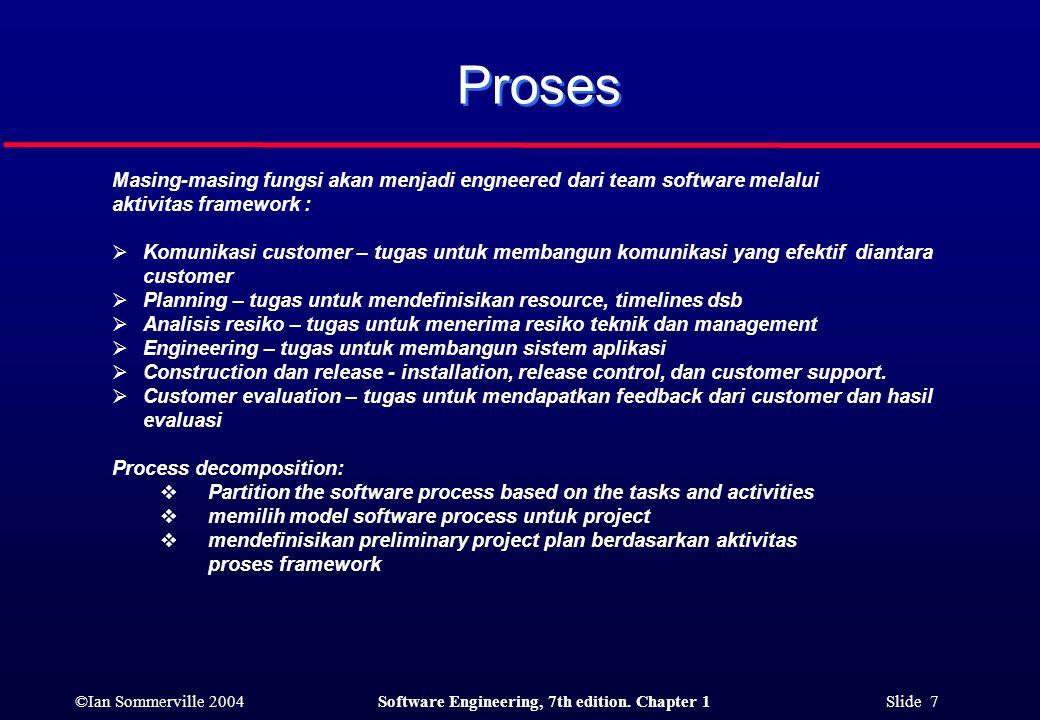 Proses Masing-masing fungsi akan menjadi engneered dari team software melalui. aktivitas framework :