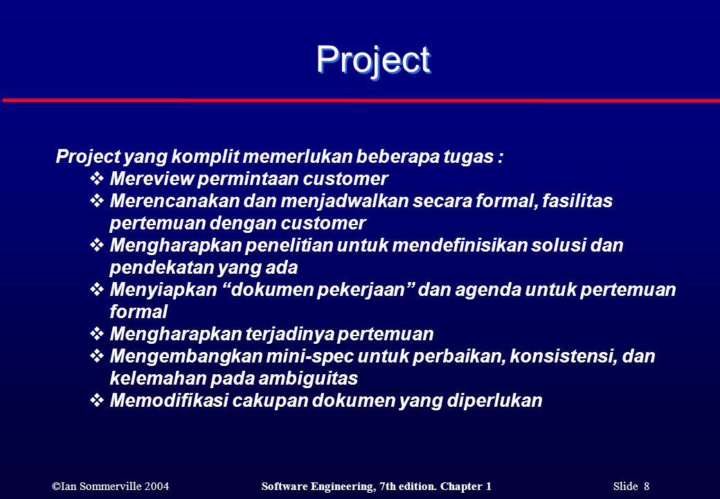 Project Project yang komplit memerlukan beberapa tugas :