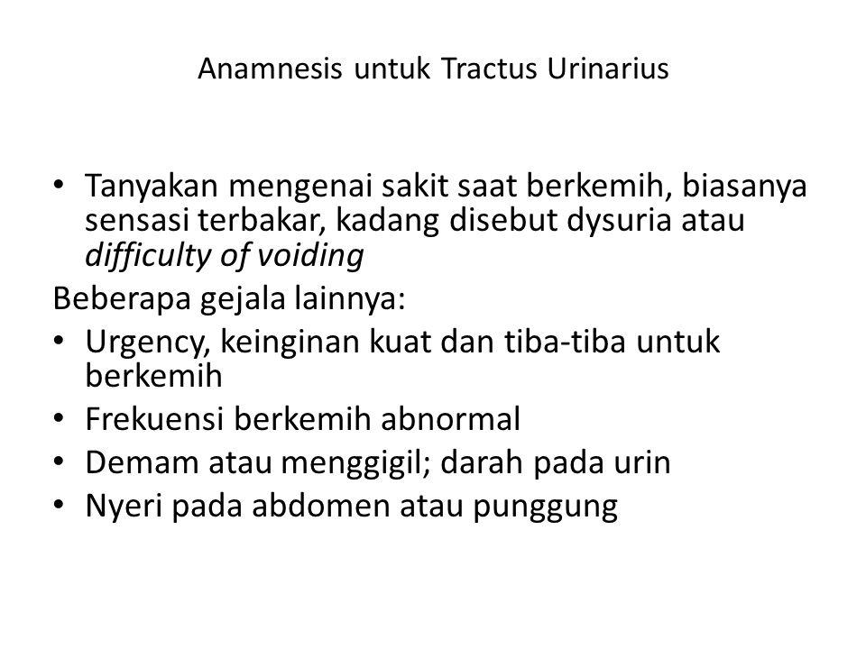 Anamnesis untuk Tractus Urinarius