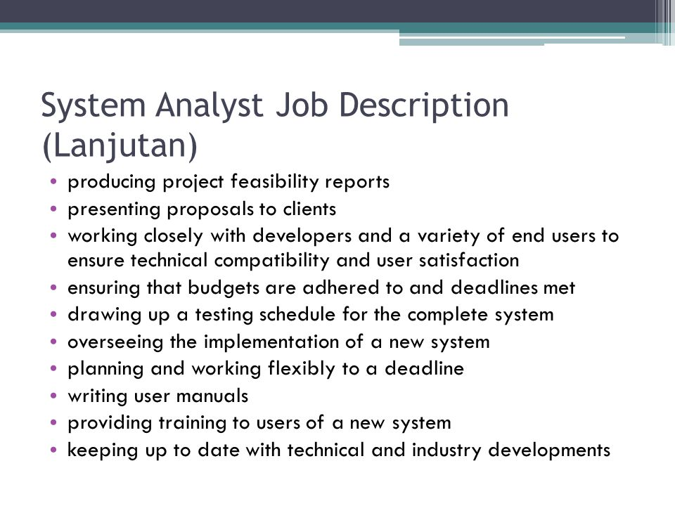System Analyst Job Description (Lanjutan)