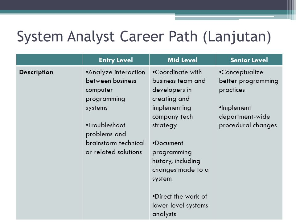 System Analyst Career Path (Lanjutan)