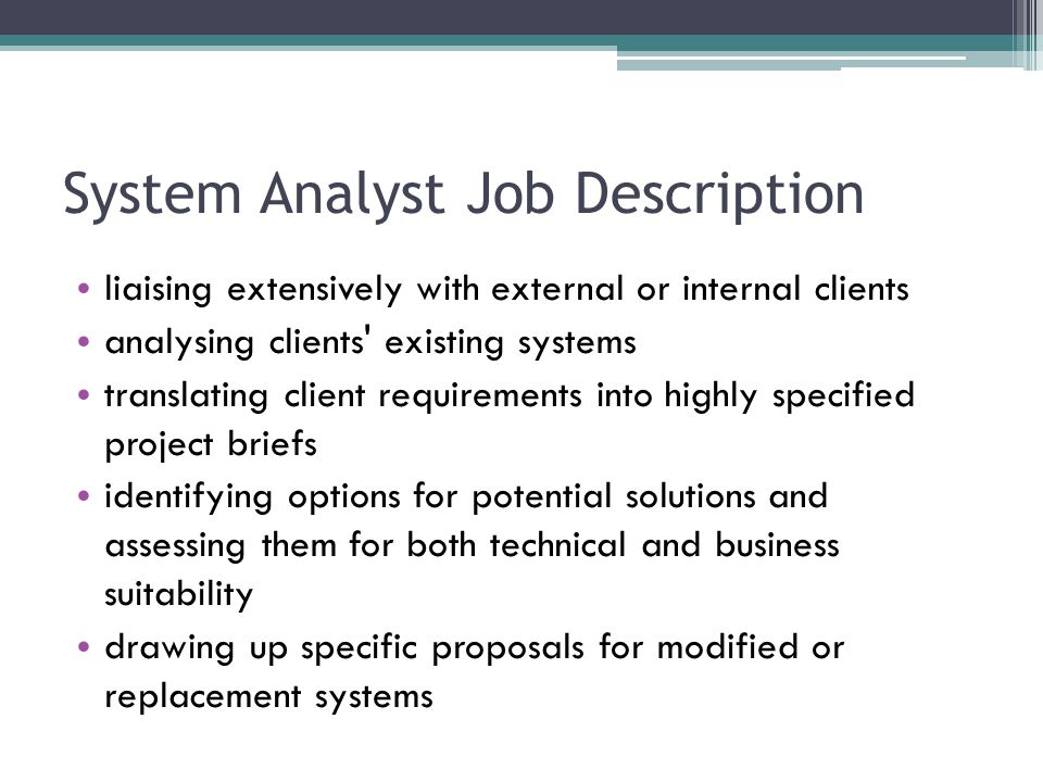 System Analyst Job Description