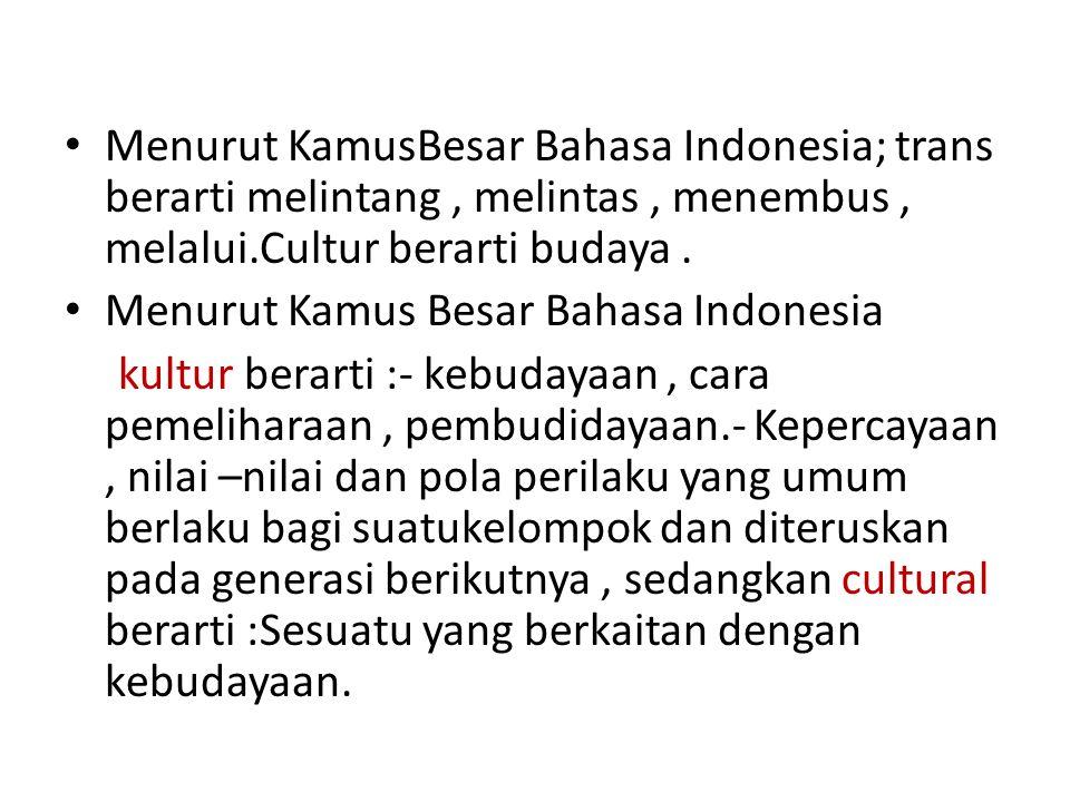 Menurut KamusBesar Bahasa Indonesia; trans berarti melintang , melintas , menembus , melalui.Cultur berarti budaya .