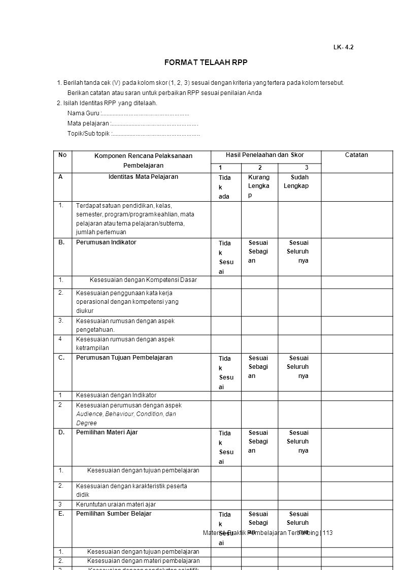 Komponen Rencana Pelaksanaan Pembelajaran Identitas Mata Pelajaran