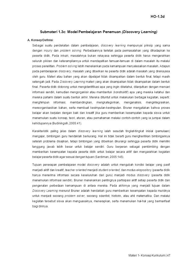 Submateri 1.3c: Model Pembelajaran Penemuan (Discovery Learning)