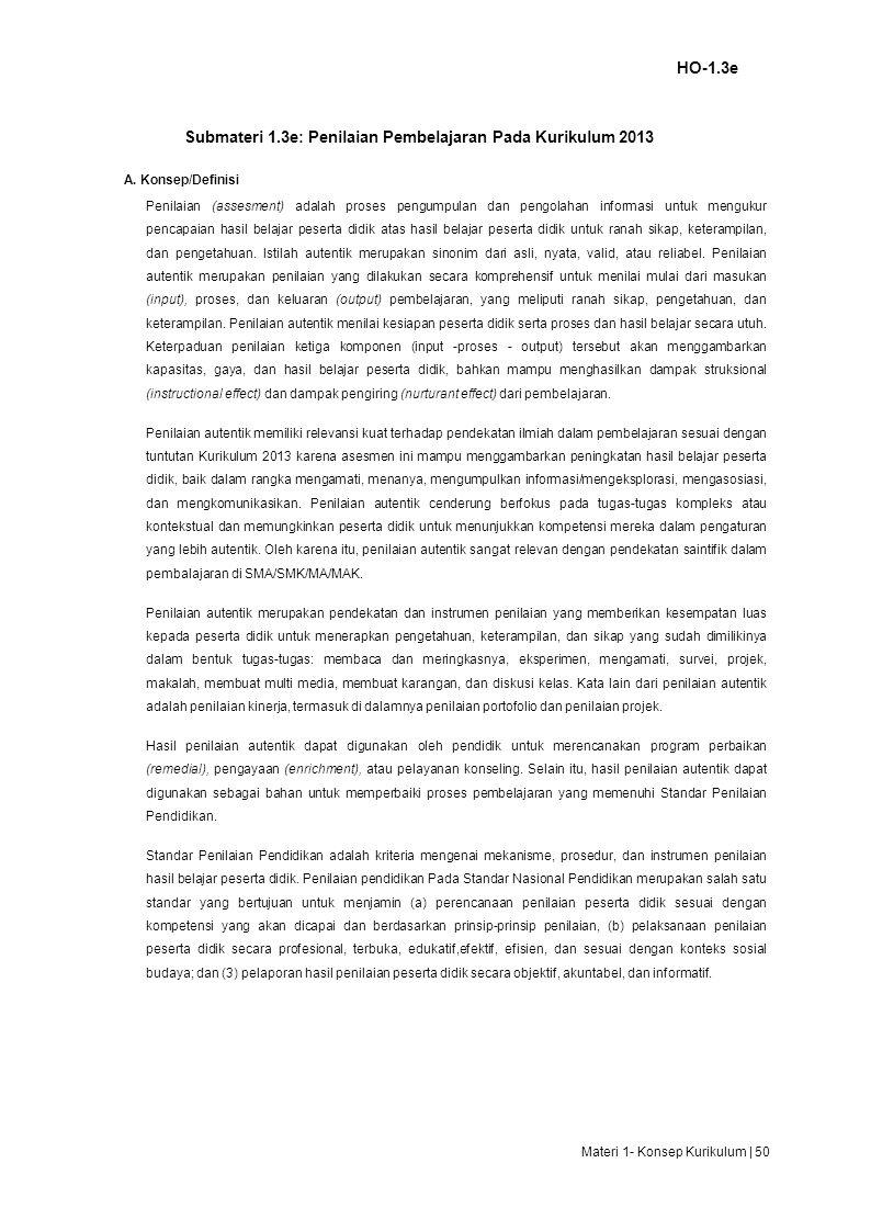 Submateri 1.3e: Penilaian Pembelajaran Pada Kurikulum 2013