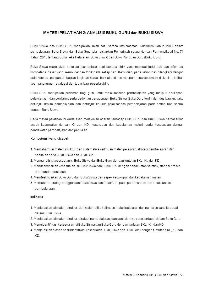 MATERI PELATIHAN 2: ANALISIS BUKU GURU dan BUKU SISWA
