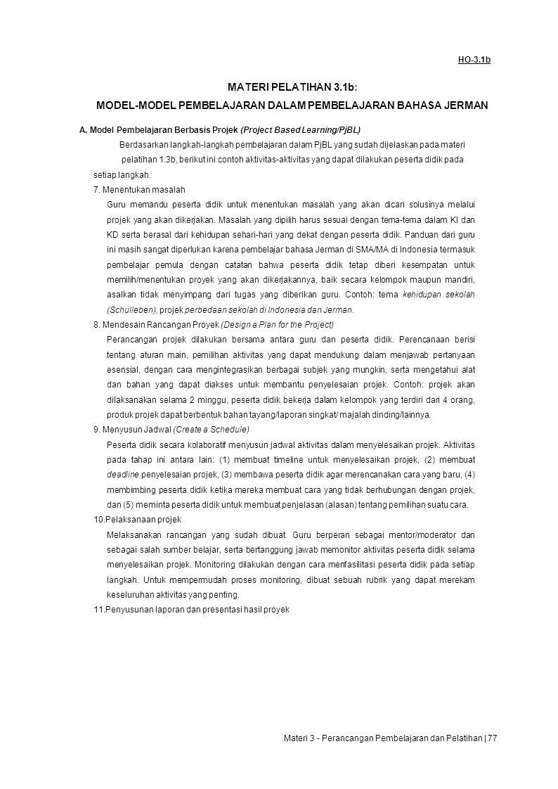 MODEL-MODEL PEMBELAJARAN DALAM PEMBELAJARAN BAHASA JERMAN