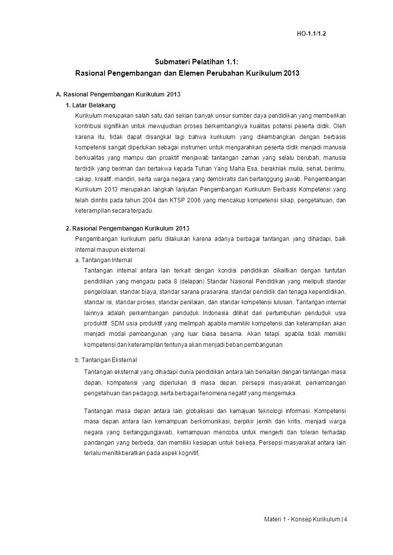 Rasional Pengembangan dan Elemen Perubahan Kurikulum 2013