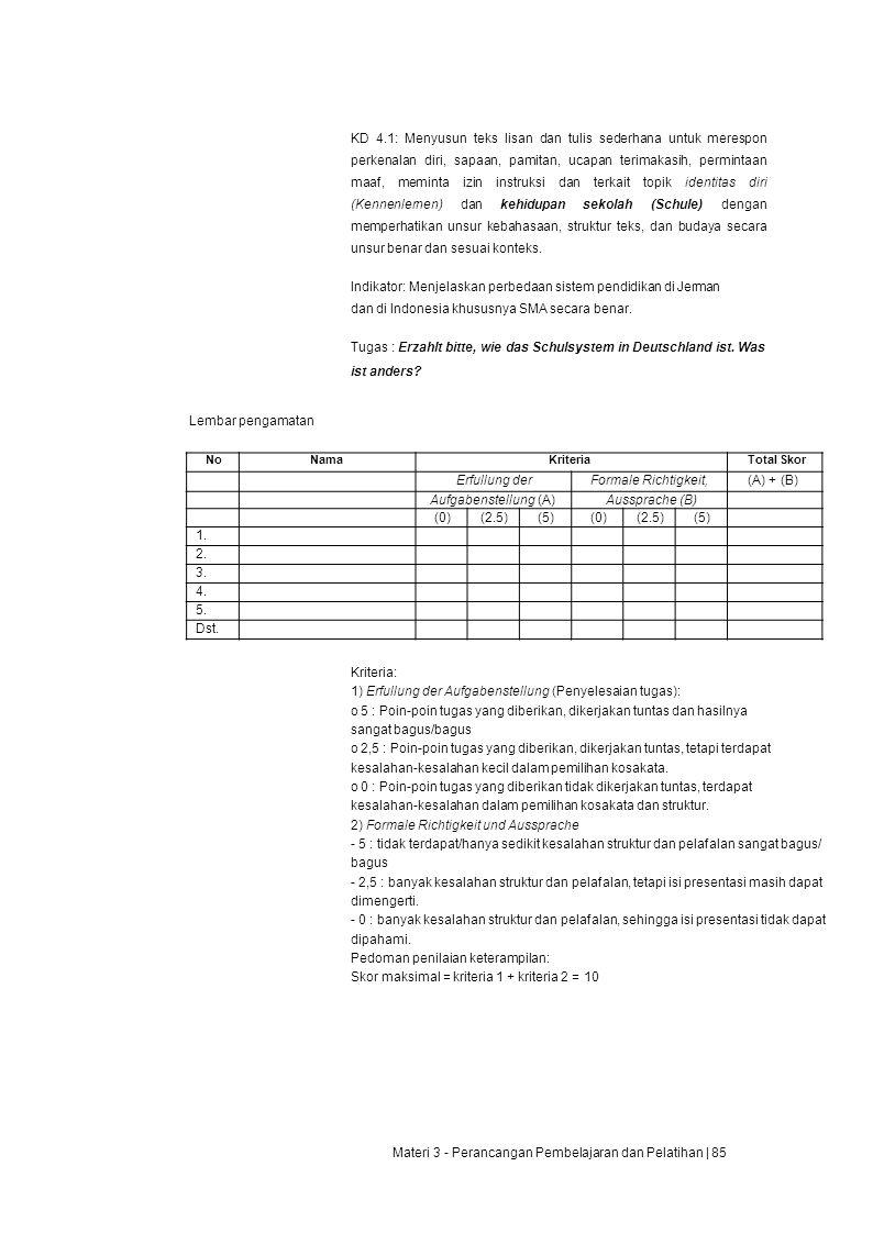 1) Erfullung der Aufgabenstellung (Penyelesaian tugas):