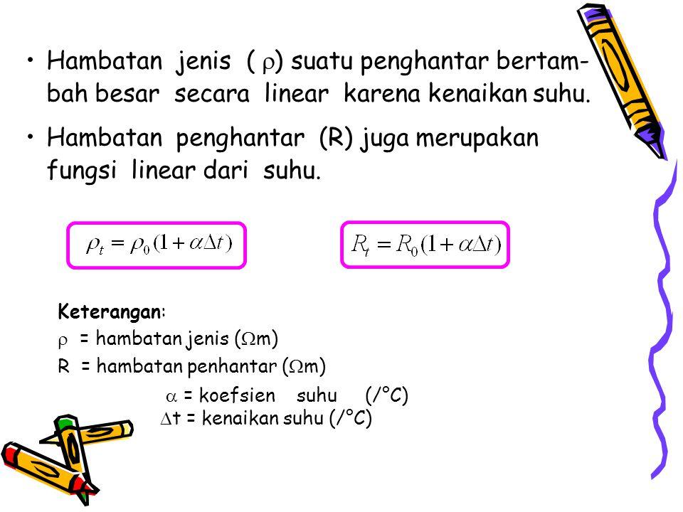 Hambatan penghantar (R) juga merupakan fungsi linear dari suhu.
