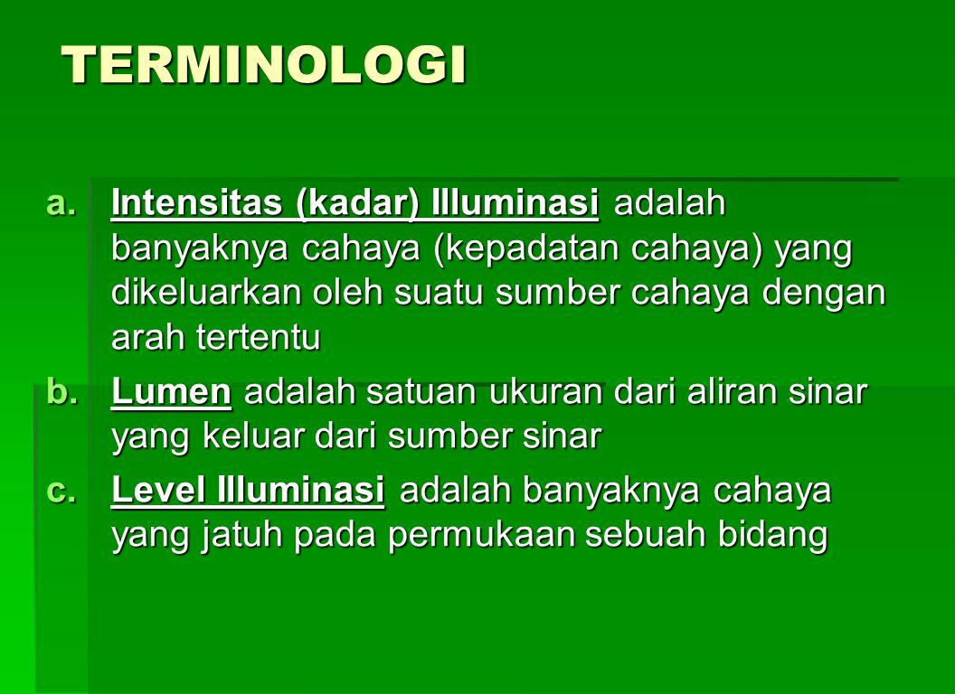 TERMINOLOGI Intensitas (kadar) Illuminasi adalah banyaknya cahaya (kepadatan cahaya) yang dikeluarkan oleh suatu sumber cahaya dengan arah tertentu.