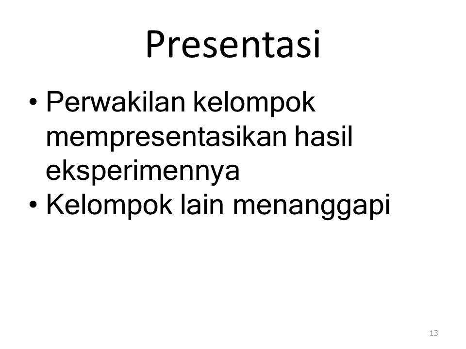 Presentasi Perwakilan kelompok mempresentasikan hasil eksperimennya