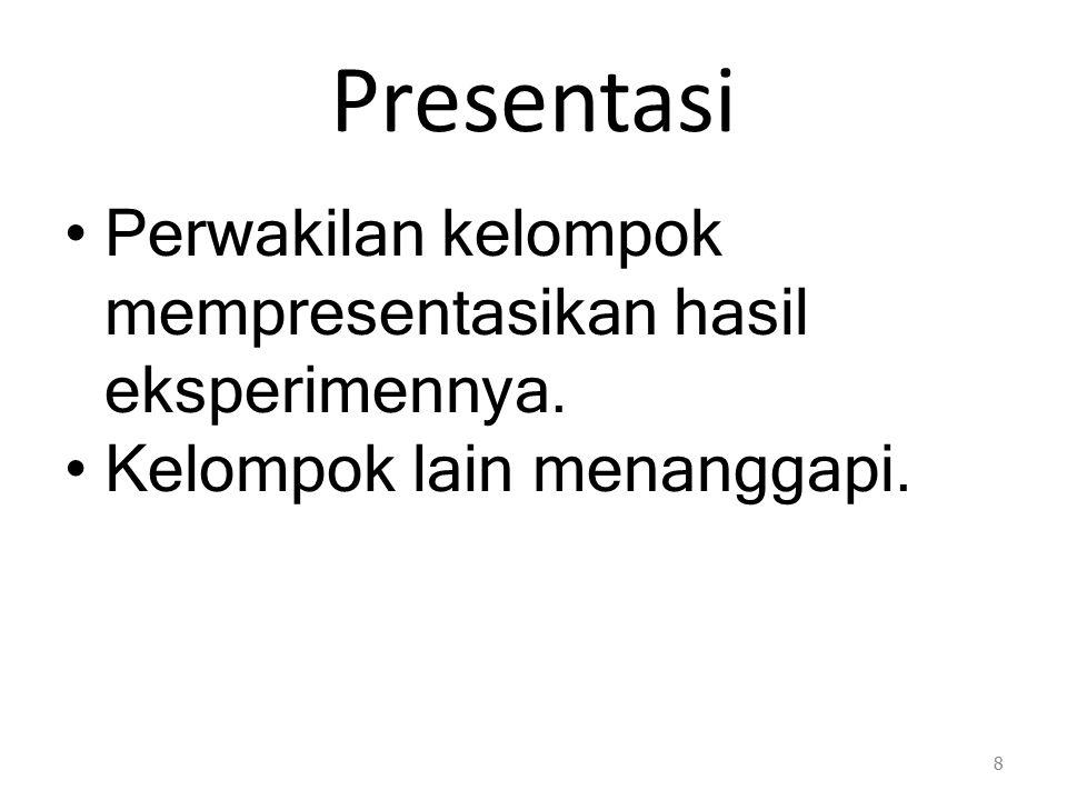 Presentasi Perwakilan kelompok mempresentasikan hasil eksperimennya.