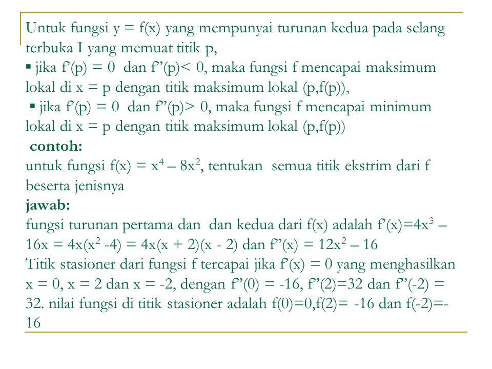 Untuk fungsi y = f(x) yang mempunyai turunan kedua pada selang terbuka I yang memuat titik p, ▪ jika f'(p) = 0 dan f''(p)< 0, maka fungsi f mencapai maksimum lokal di x = p dengan titik maksimum lokal (p,f(p)), ▪ jika f'(p) = 0 dan f''(p)> 0, maka fungsi f mencapai minimum lokal di x = p dengan titik maksimum lokal (p,f(p)) contoh: untuk fungsi f(x) = x4 – 8x2, tentukan semua titik ekstrim dari f beserta jenisnya jawab: fungsi turunan pertama dan dan kedua dari f(x) adalah f'(x)=4x3 – 16x = 4x(x2 -4) = 4x(x + 2)(x - 2) dan f''(x) = 12x2 – 16 Titik stasioner dari fungsi f tercapai jika f'(x) = 0 yang menghasilkan x = 0, x = 2 dan x = -2, dengan f''(0) = -16, f''(2)=32 dan f''(-2) = 32.