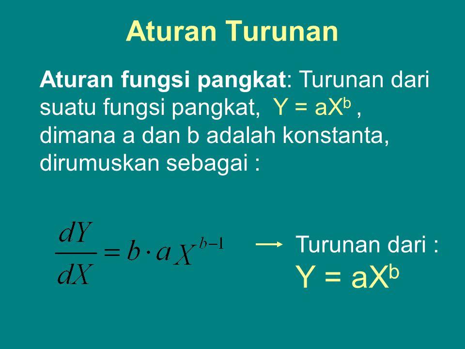 Aturan Turunan Aturan fungsi pangkat: Turunan dari suatu fungsi pangkat, Y = aXb , dimana a dan b adalah konstanta, dirumuskan sebagai :