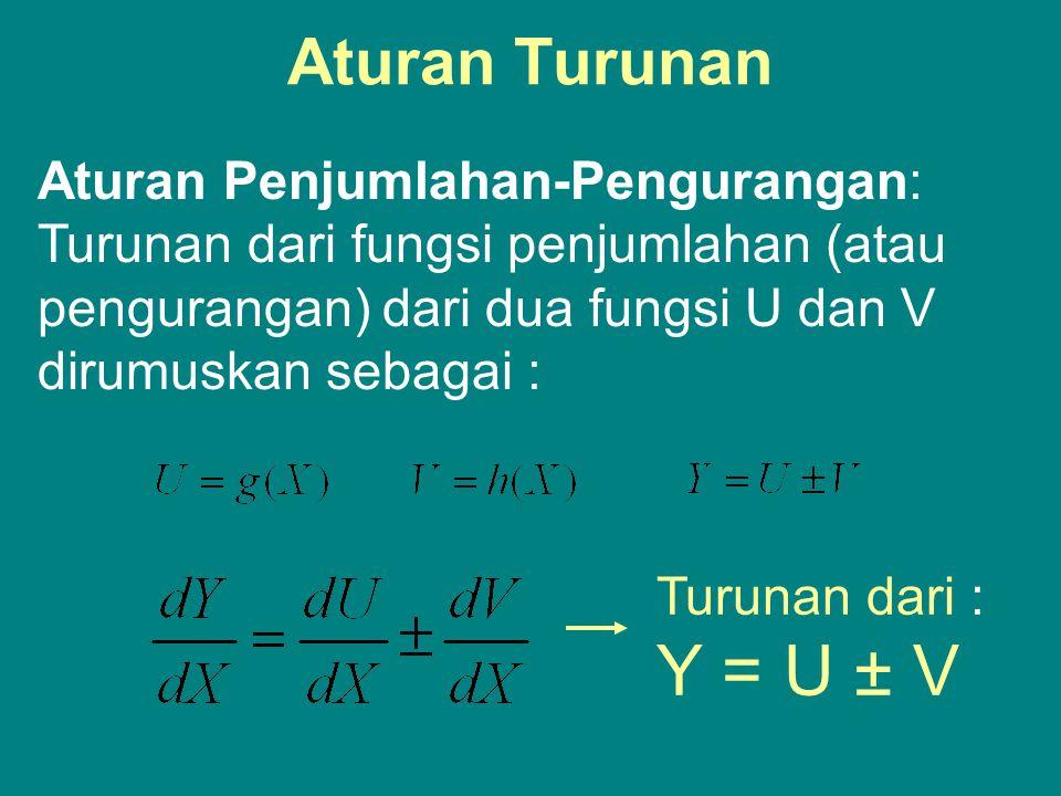 Aturan Turunan Aturan Penjumlahan-Pengurangan: Turunan dari fungsi penjumlahan (atau pengurangan) dari dua fungsi U dan V dirumuskan sebagai :